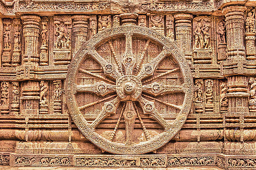 Stone Chariot Wheel, this Sun Temple in East India is in the shape of a giant horse drawn chariot. by Nila Newsom