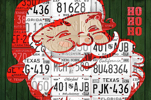 Santa Claus Ho Ho Ho Recycled Vintage Colorful License Plate Art by Design Turnpike