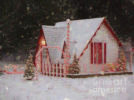 Santa House With Snow Winona Minnesota Digital Painting by Kari Yearous