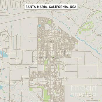 Santa Maria California US City Street Map by Frank Ramspott