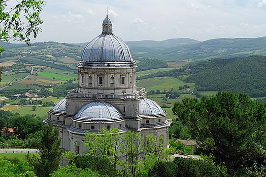 Reimar Gaertner - Santa Maria della Consolazione with Umbrian landscape in todi It