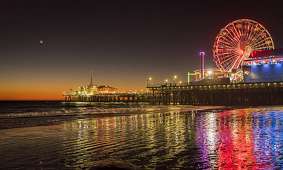 Santa Monica Pier after Sunset by Michael Hope