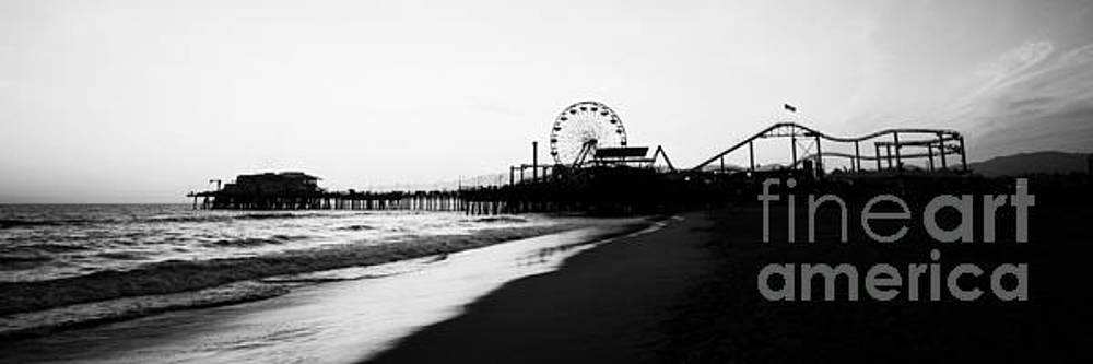 Paul Velgos - Santa Monica Pier Black and White Panoramic Photo