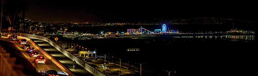 Santa Monica Pier Light Show - Panorama by Gene Parks