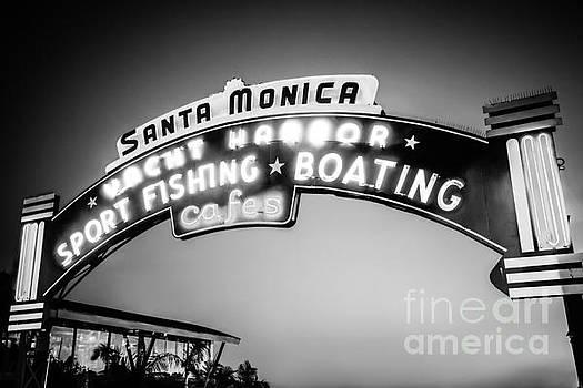 Paul Velgos - Santa Monica Pier Sign Black and White Photo