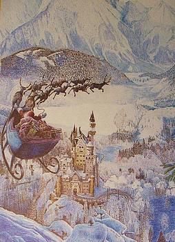 Santa Over Neuschwanstein by Dan Hausel