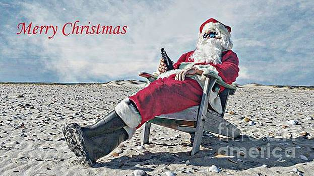 Santa Relaxing on the Beach by Benanne Stiens