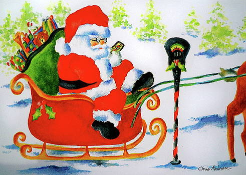 Santa Safely Texting by Christine Ambrose