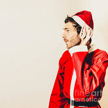 Santas little helper listening to christmas orders by Jorgo Photography - Wall Art Gallery