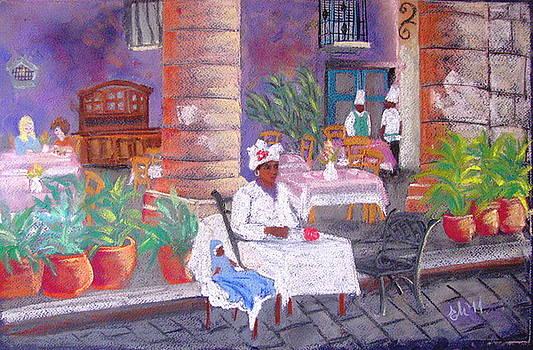 Santera in the cathedral square in Havana by Elena Malec