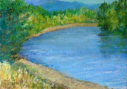 Santiam River - Summer Colorful Original Landscape by Elizabeth Sawyer