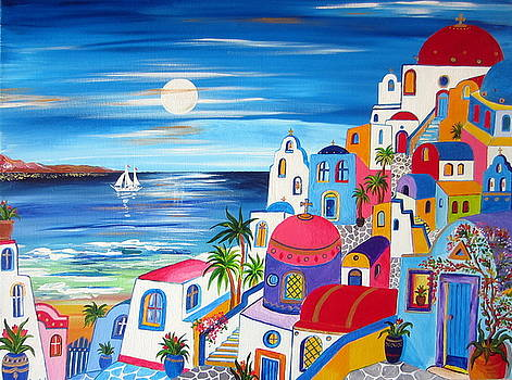 Santorini Moonlight Fantasy  by Roberto Gagliardi