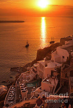 Santorini sunset 1 by Jim Wright