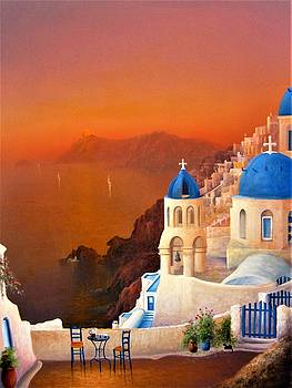Santorini Sunset by Ray Gilronan