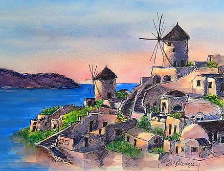 Santorini Windmills by Suzanne Krueger