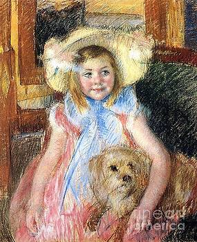 Cassatt - Sarah In a Large Flowered Hat Holding Her Dog