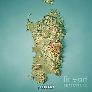 Sardinia Island Italy 3D Render Topographic Map by Frank Ramspott