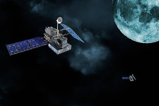 Satellites in orbit around the moon by Christian Lagereek