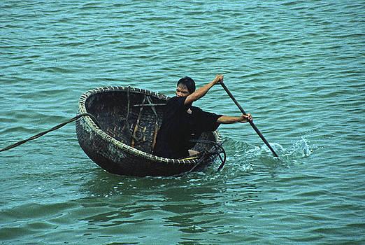 Saucer Bamboo Fishing Boat Na Trang, Vietnam by Rich Walter
