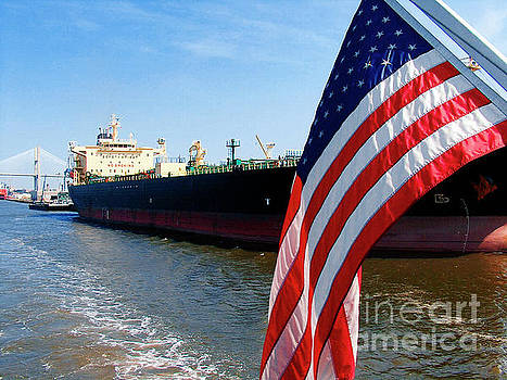 Savannah Georgia Container Ship and US Flag by Ginette Callaway
