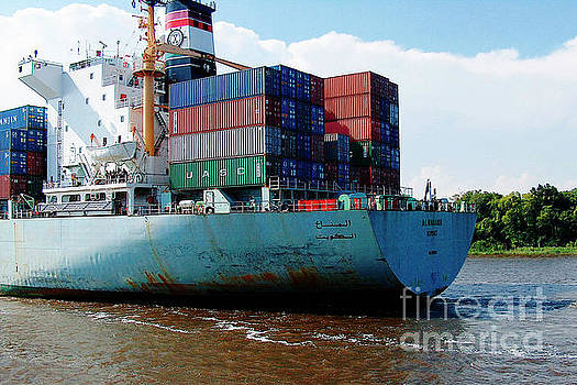 Savannah Georgia harbour Container Ship Middle East  by Ginette Callaway