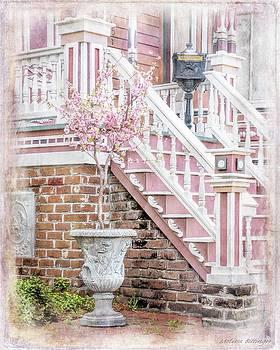Savannah Pink White Victorian Architecture by Melissa Bittinger