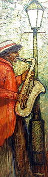 Sax Player on Gold Leaf by Judy Merrell