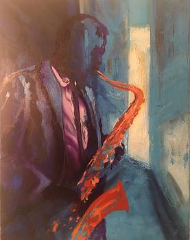 Saxophone player by Grus Lindgren