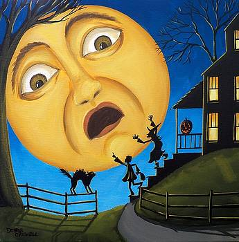 Scare The Moon  Halloween by Debbie Criswell