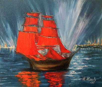 Scarlet sails Sailing vessel print digital  Landscape wall art Colorful landscape   painting  sailin by Natalya Zhdanova