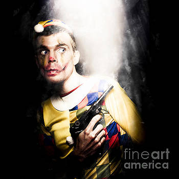 Scary Clown Standing In Shadows With Smoking Gun by Jorgo Photography - Wall Art Gallery