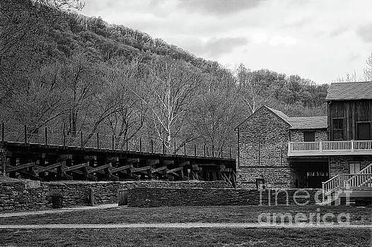 Scene at Harpers Ferry Black and White by Karen Adams