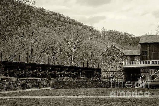 Scene at Harpers Ferry in Sepia by Karen Adams