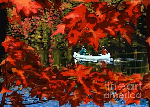 Scenic Autumn canoe  by Sassan Filsoof