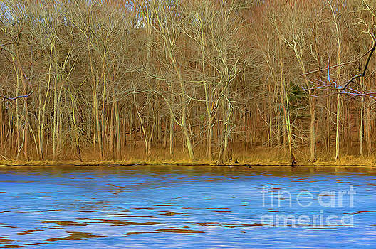 Scenic frozen artistic rendering view Radnor Lake by Jeffery Johnson