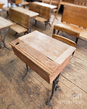 School Desks in a One Room School Building by Edward Fielding