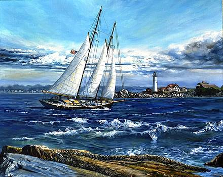 Schooner Bagheera by Portland Head Light by Eileen Patten Oliver