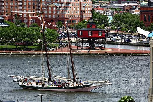 Schooner Lady Maryland Leaving Inner Harbor Baltimore by James Brunker