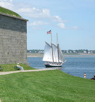 Schooner Off Castle Island by Pauline Margarone
