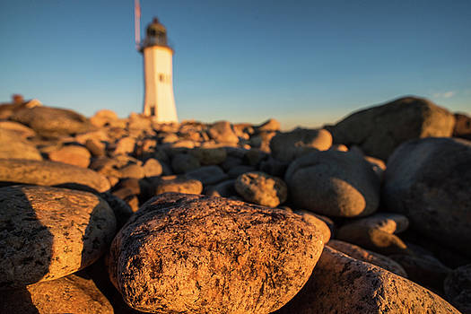 Scituate Lighthouse Scituate Massachusetts South Shore at Sunrise Rock Detail by Toby McGuire