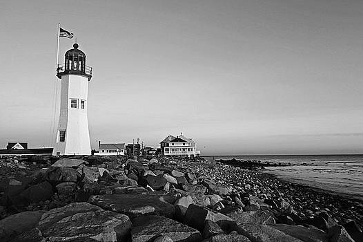 Scituate Lighthouse Scituate Massachusetts South Shore at Sunrise Rocks Black and White by Toby McGuire
