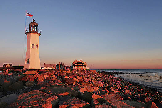 Scituate Lighthouse Scituate Massachusetts South Shore at Sunrise Rocks by Toby McGuire