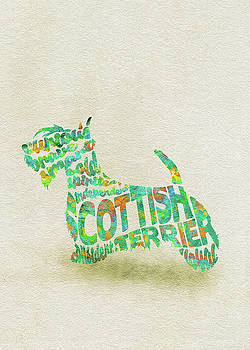 Scottish Terrier Dog Watercolor Painting / Typographic Art by Ayse and Deniz