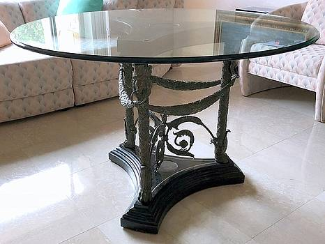 Sculptured Bronze Table by Unknown Artist