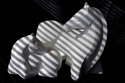 Reimar Gaertner - Sculptures of mare and foal with striped shadows from venetian blinds