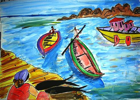 Sea and boats by Sonali Singh