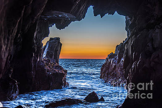 Sea Cave Sunset by Leo Bounds