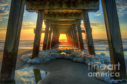 Sea Foam Tybee Island Pier Sunrise Art by Reid Callaway