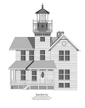 Sea Girt New Jersey Architectural Drawing by Anne Norskog