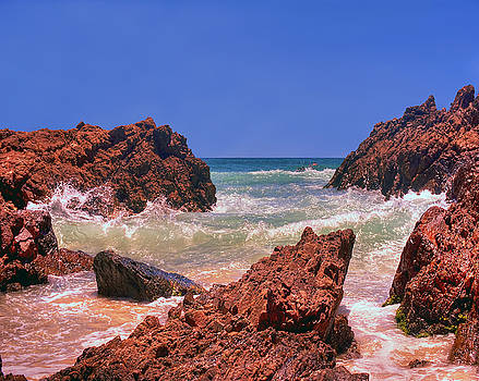 Sea On Rocks in Byron Bay Australia Print Image by Chris Smith